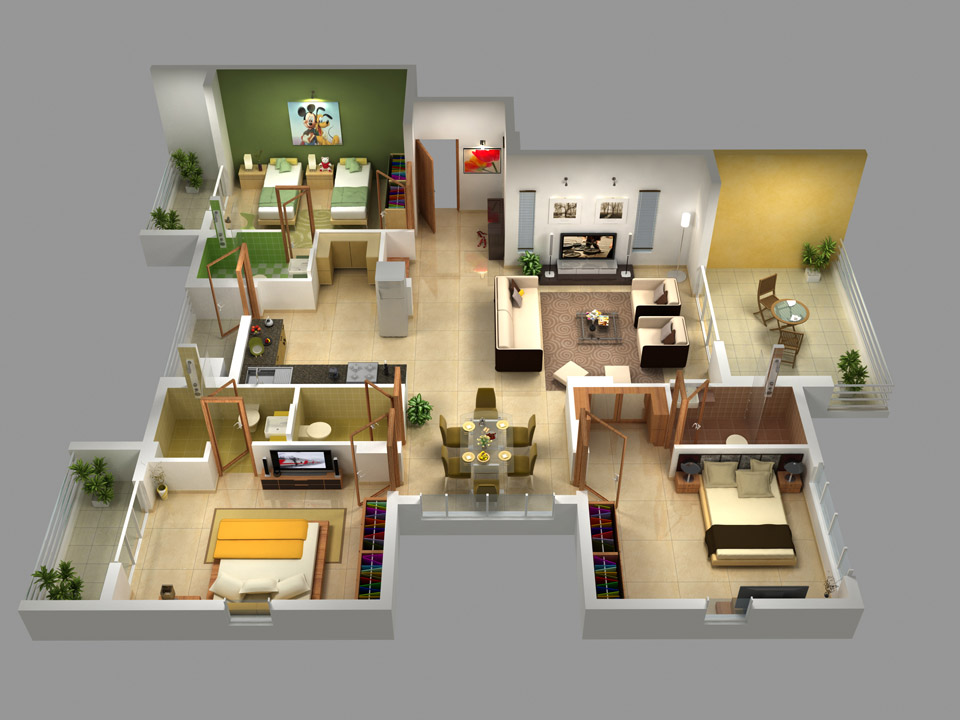 A Block 3 BHK Plan